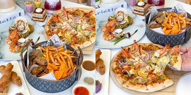 台南聚餐推薦「寓永恆」PIZZA享買一送一,享受歡聚時光的義式饗宴!浮誇鮮蝦現烤PIZZA超推薦。大坪數空間好吃又好拍。|台南義大利麵|