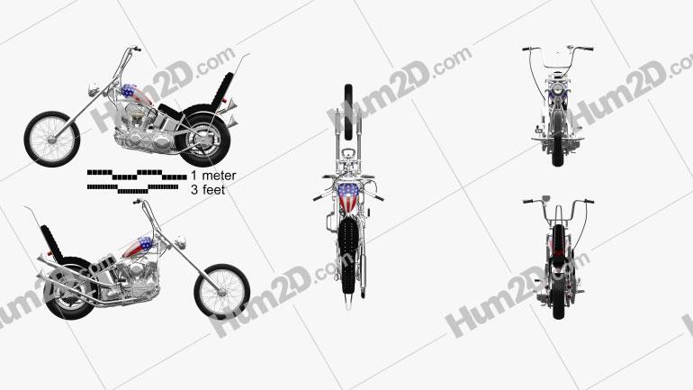 Harley-Davidson Easy Rider Captain America 1969 Clipart