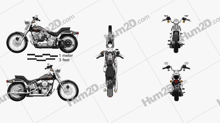 Harley-Davidson FXSTS Springer Softail 1988 Clipart