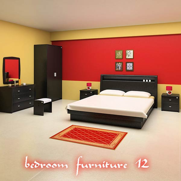 Bedroom Furniture 12 Set 3D model  Hum3D