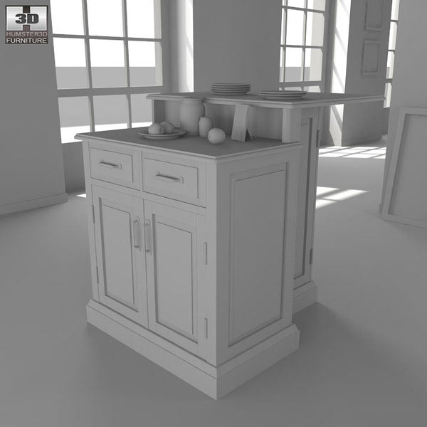 Woodbridge Two Tier Kitchen Island 3D Model Hum3D