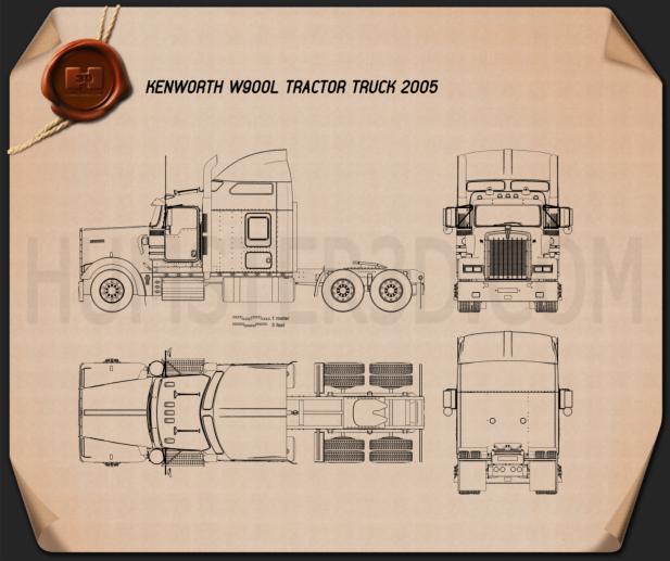 Kenworth blueprint 3D Models Download  Hum3D