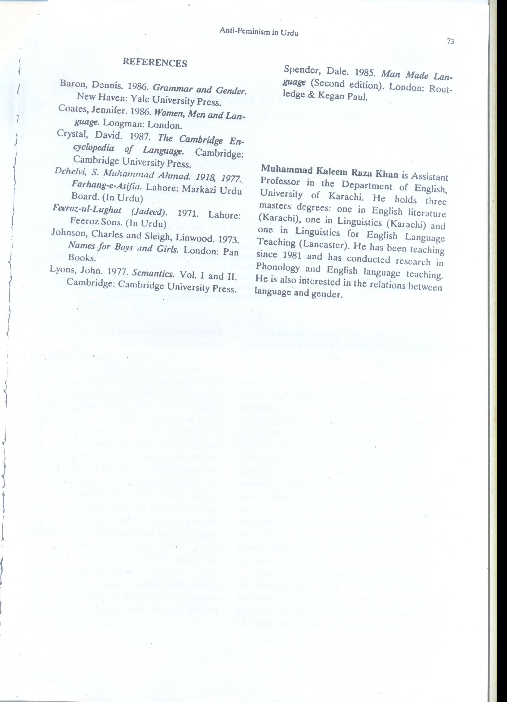 Research Paper On Feminism Anti Feminism In Urdu A Study In