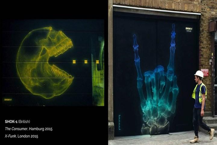 В Лондоне SHOK-1 рисует огромные рентгеновские снимки икон поп-культуры.
