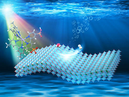 An illustration of visible-light-driven H2 evolution on ruthenium-dye/HCa2Nb3O10 nanosheet.