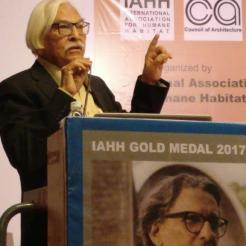 "Ar. Y. D. Mistry, IIA Vadodara Centre, suggesting that Prof. B. V. Doshi is ""Bhishma Pitamah""of architectural profession."