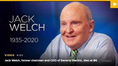 Photo of Jack Welch, former chairman and CEO of GE, dies at 84