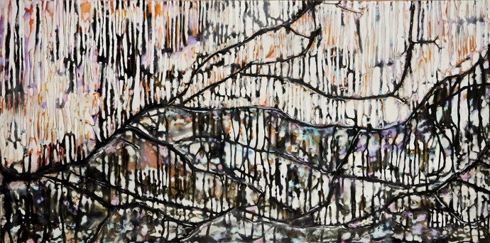 """Ode No.3"" 24""x48"" encaustic and natural materials on panel"
