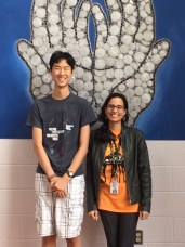 Third-place winner Alvin Ya (left) and his teacher Mary Alice Adah (right) at Poolesville High School. (Courtesy Ms. Adah)