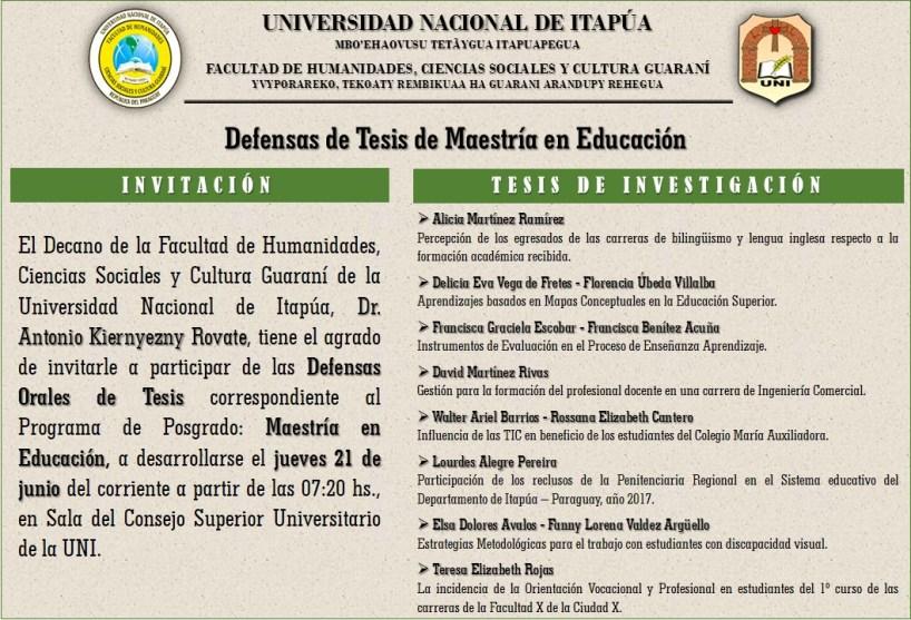 """Defensas de Tesis de """"Maestría en Educación"""""""