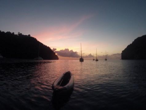 couché de soleil anse de Marigot Bay