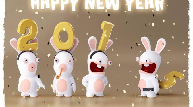 Image graphique lapins crétins souhaitent bonne année 2015