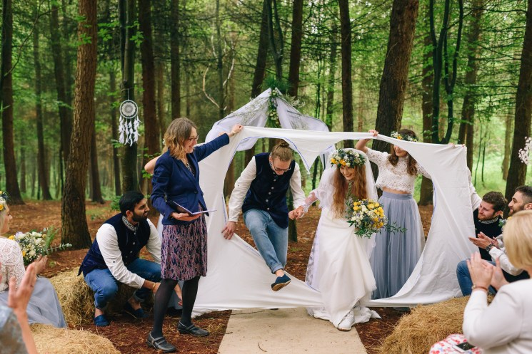 Humanist wedding in a woodland