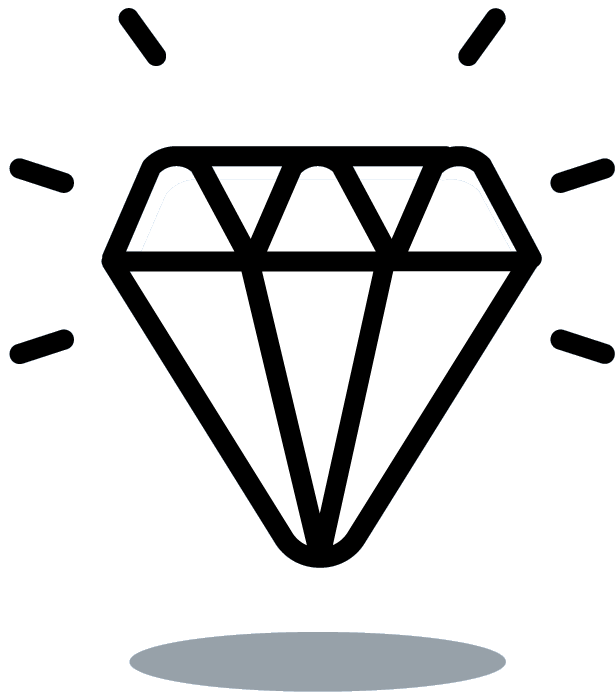 line art of a daimond to represent values