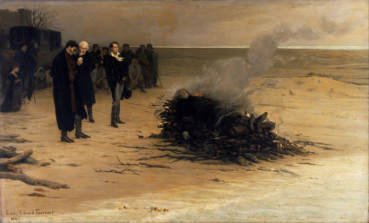 """Louis Edouard Fourniers maleri """"Shelleys gravferd"""", fra 1889. Poeten Percy Bysshe Shelley druknet i en storm i Middelhavet noen få uker før si 30-årsdag."""