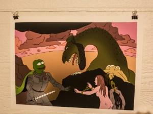 Pepe som ridder i rustning befrir to kvinner fra det som til tross for jødisklignende trekk er en «muslimdrage». Foto: John Færseth