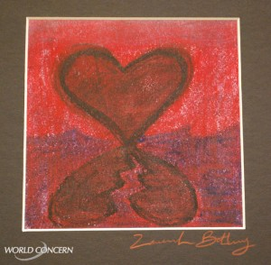 Heart: World AIDS Day art display for humanitarian organization World Concern.