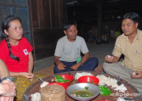 Humanitarians in rural areas must talk with village leaders, like this chief in a remote village in Laos.