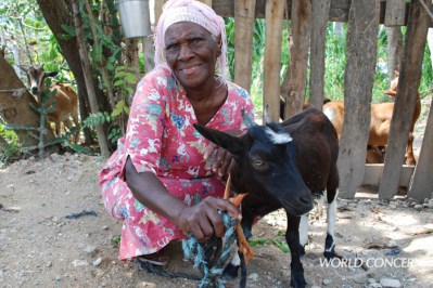 This is Thermogene, a widow in Haiti. Give A Goat and help someone like her. Because someone decided to donate a goat, she has reason to smile.