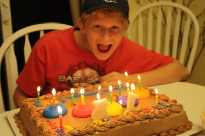 Jordan with birthday cake.