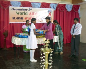 Children receive awards in Sri Lanka.