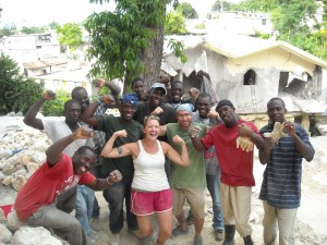 Diana and Blake with Haitian workers.
