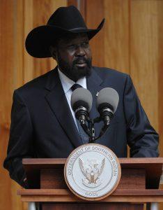 South Sudan's President Salva Kiir addresses the media.