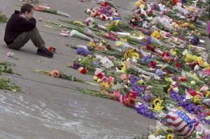 man attending September 11 memorial in Seattle