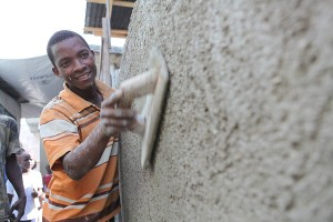 A young Haitian man uses his construction skills to rebuild homes in Haiti.