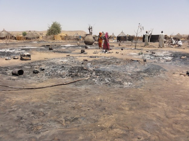 Women in the remote village of Maramara, Chad, stand amidst the ashes after a fire destroyed homes and crops.