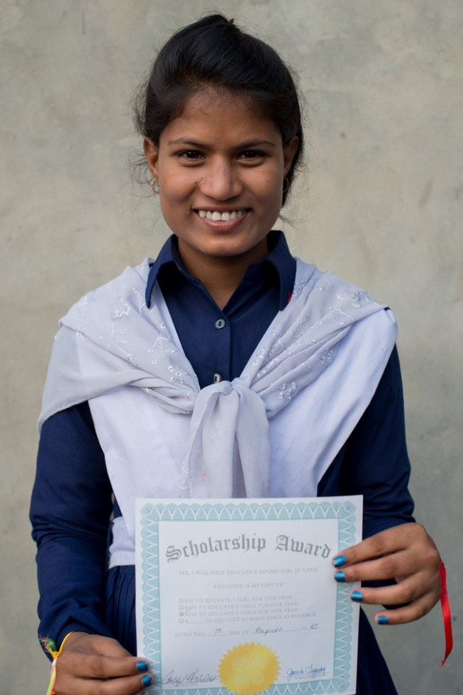 Dipa's mother was a child bride, and her sister, but this scholarship has broken the chains and given her hope.