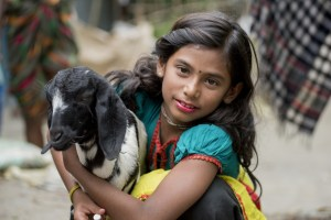 a girl holds a goat
