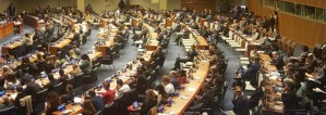 Delegates attend First Committee at UN Headquarters in New York.