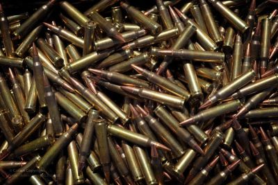 A pile of 5.56mm ammunition rounds. Credit: Defence Images.