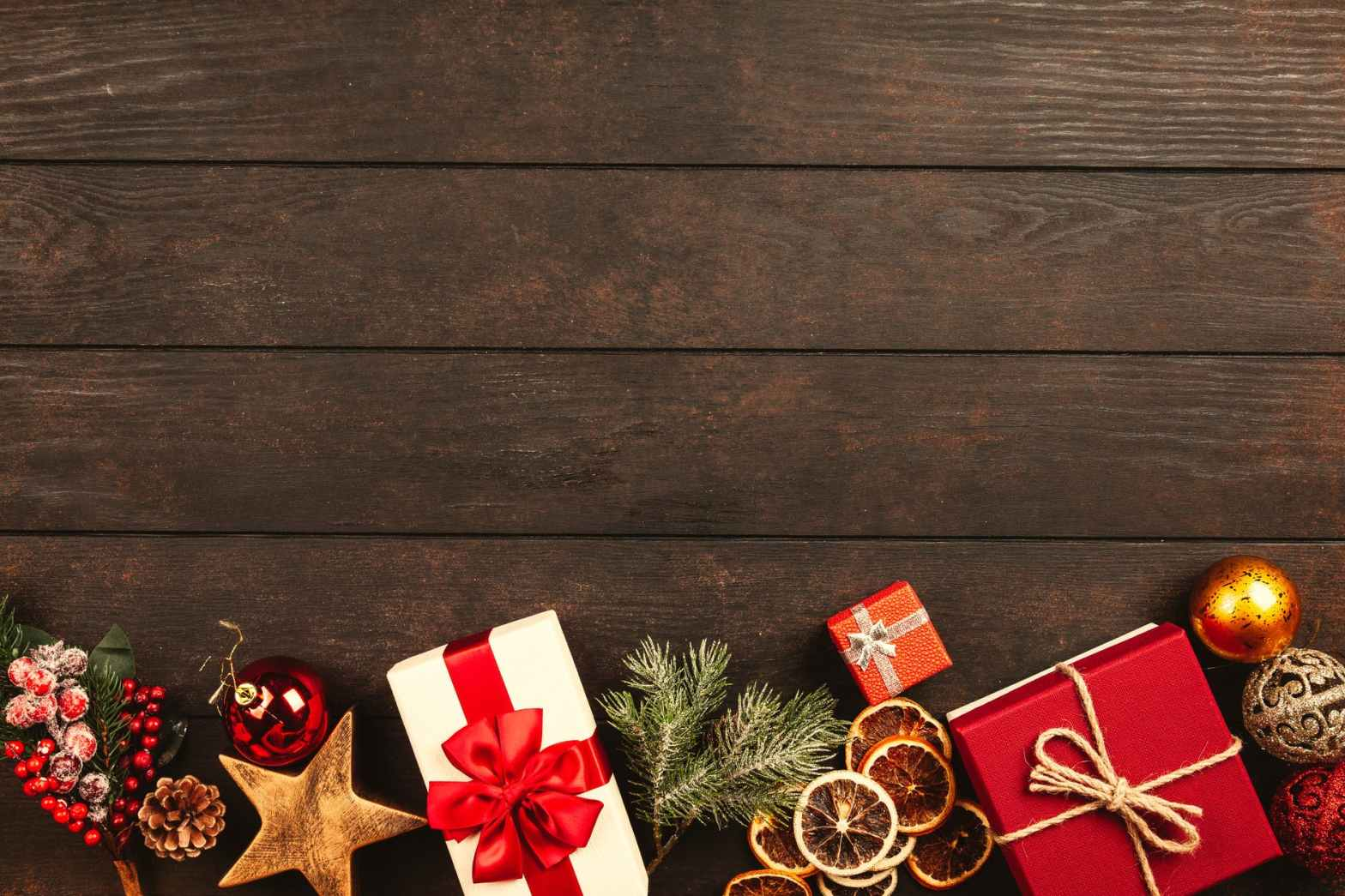 christmas gifts on brown parquet floor