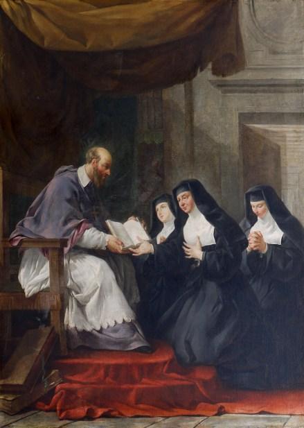 St Francis de Sales and St Jane de Chantal, along with Visitation sisters.