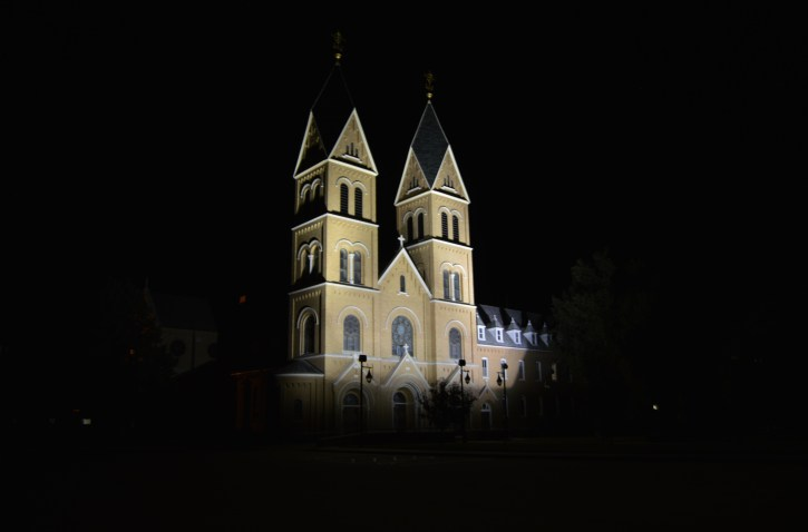 At night