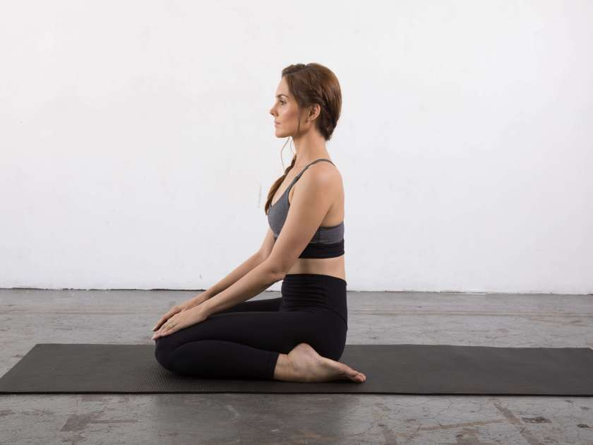 Hero pose - yin yoga poses for the shoulders
