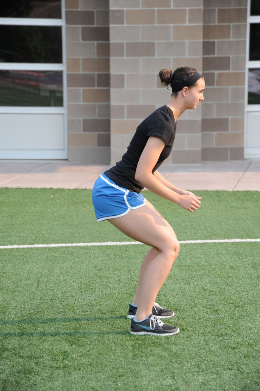 Athletic Position used in agility drills for football