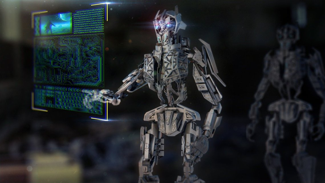 Cyborg interacting with holographic control panel