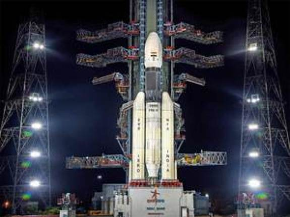 Indian heavy lift rocket on it's pad at night