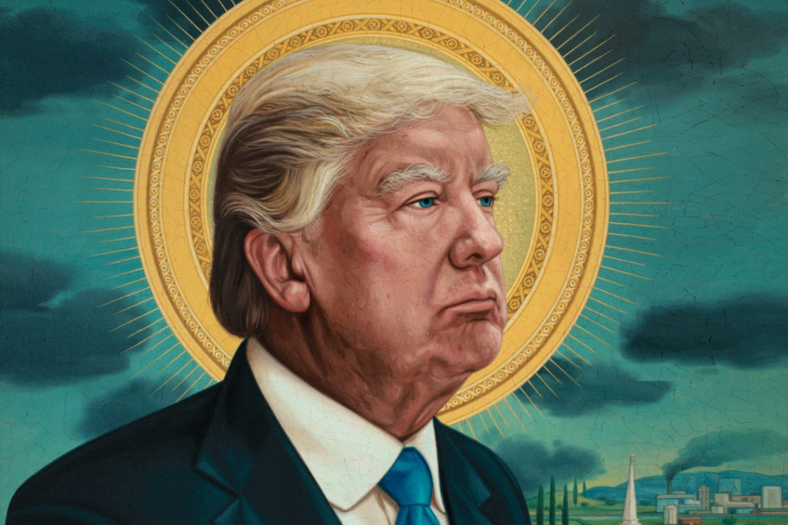 illustration of Trump with halo by Marco Ventura for Rolling Stone