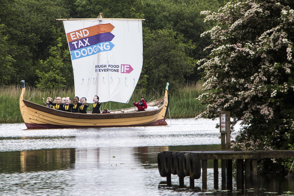 Tax protesters on a sail boat at 2013 G8 summit in NI