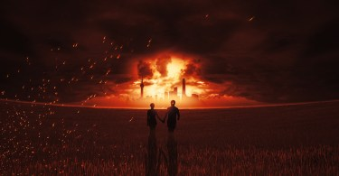 couple in field facing apocalyptic explosion