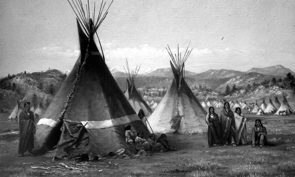 black and white photo of native american village in Yellowstone