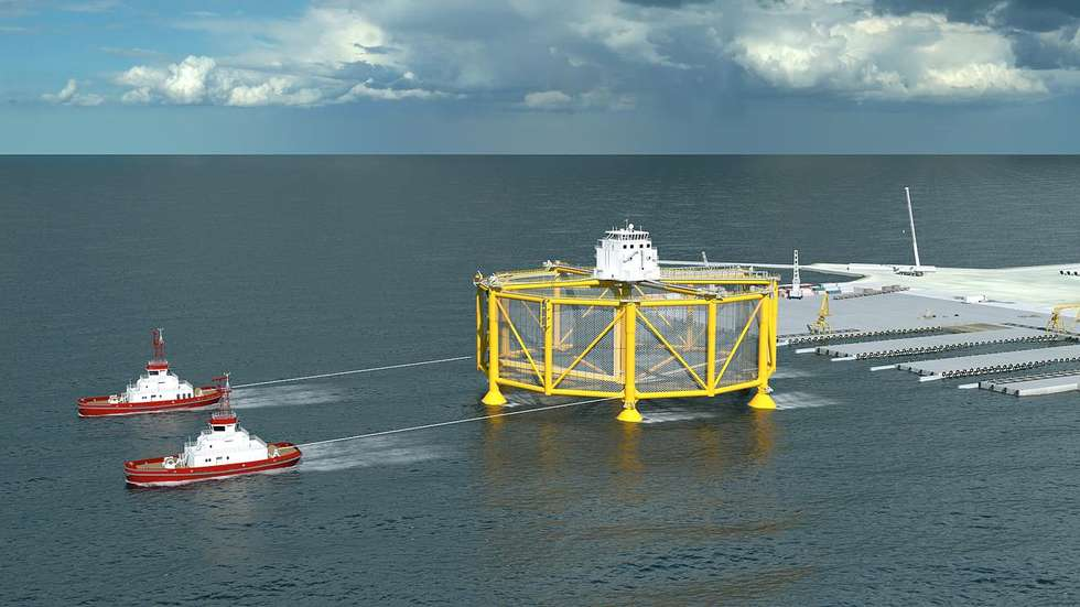 Huge fish farming cage being towed by tugs