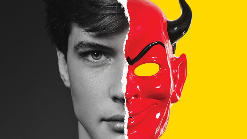 split photo of young man one half normal other half a devil