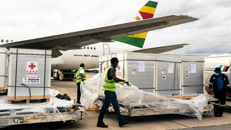 chinese aid pallets being unloaded at harare int Airport