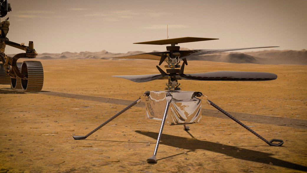 artist's illustration of NASA's Ingenuity Mars Helicopter stands on the Red Planet's surface as NASA