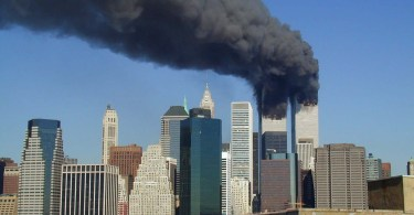 the Twin towers on fire